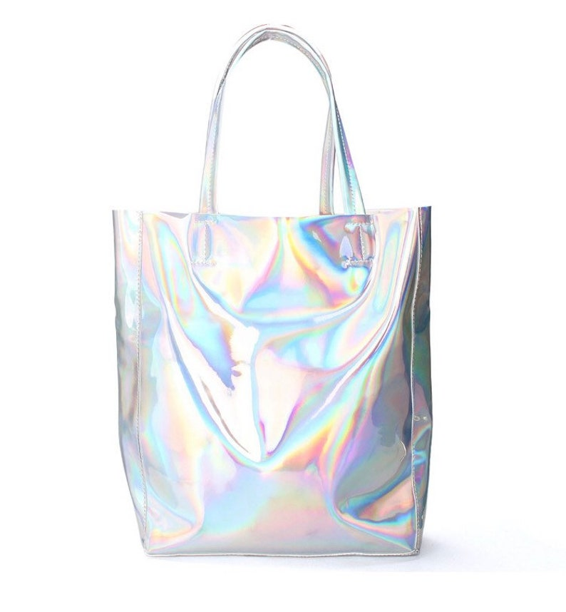 0adc97cfe23a Customized- Large Holographic tote bag- Iridescent PU leather Holographic  purse bag- personalization!