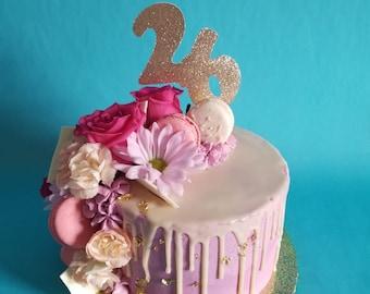 26 Birthday Cake Topper Glitter