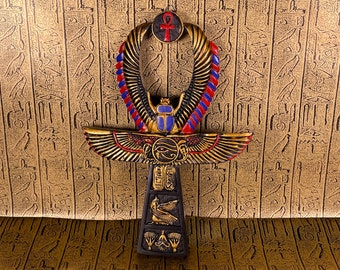 Vintage Goddess Ma'at with Scarab Wall Ankh - Hand-Painted Ancient Egyptian Key of Life Wall Hanging