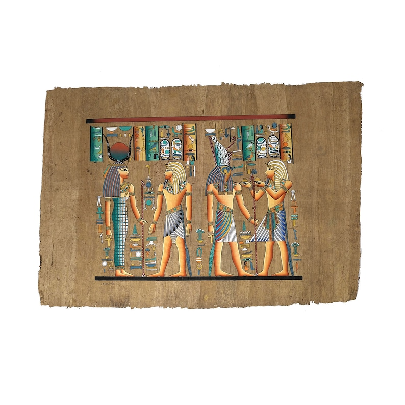 40x60cm - Egyptian Papyrus of Ramses II making Offerings to Isis & Horus -  Ancient Egyptian Pharaoh Ramses the Great making offerings