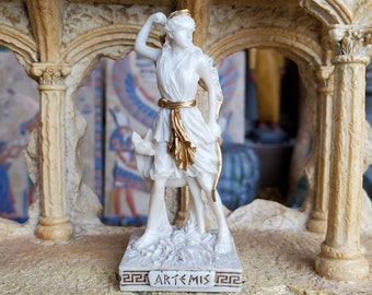 Vintage Artemis Mini Statue - Small Hand-Painted Ancient Greek Goddess Artemis - Mini Altar Statue - 3.5''/9cm tall