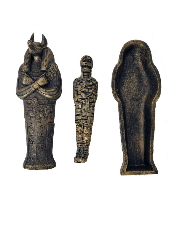 Ancient Egyptian Coffin with Mummy Figurine for Home Decoration Resin Craft