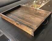 Ottoman Tray, Coffee Table Tray, Serving Tray, Reclaimed Rustic Tray, Table Tray
