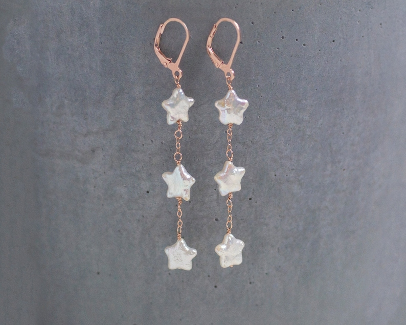 Pearl Rose Gold Dangle Earrings Gift For Her Star Shaped Pearl Earrings