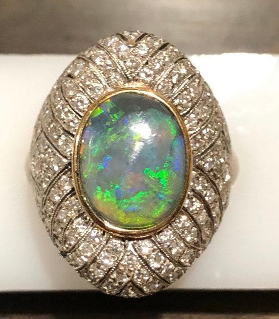 Diamond and Black Opal Estate Ring