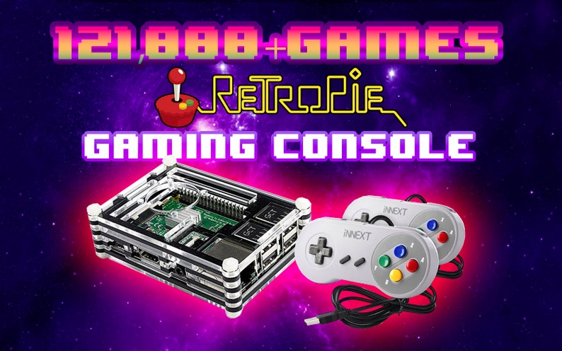 Retropie Emulation Station retro console 121,000 games raspberry pi 3 b  system w/ controllers - fully loaded snes nes genesis gba gameboy