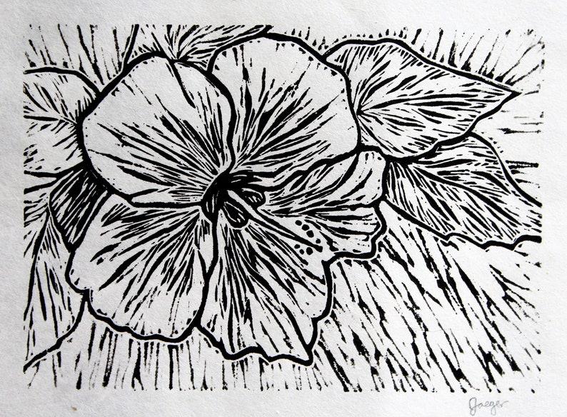 Exotic Hibiscus Flower Black And White Linocut Block Print Etsy