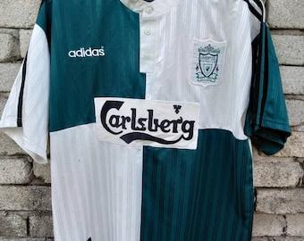 7d29983c37c Vtg 1995 adidas liverpool carlsberg away jersey