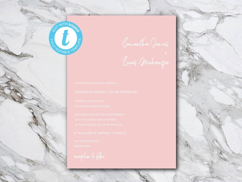 Minimalist Blush Instant Download TEMPLETT DIY Wedding Invitation Template Customisable and Printable