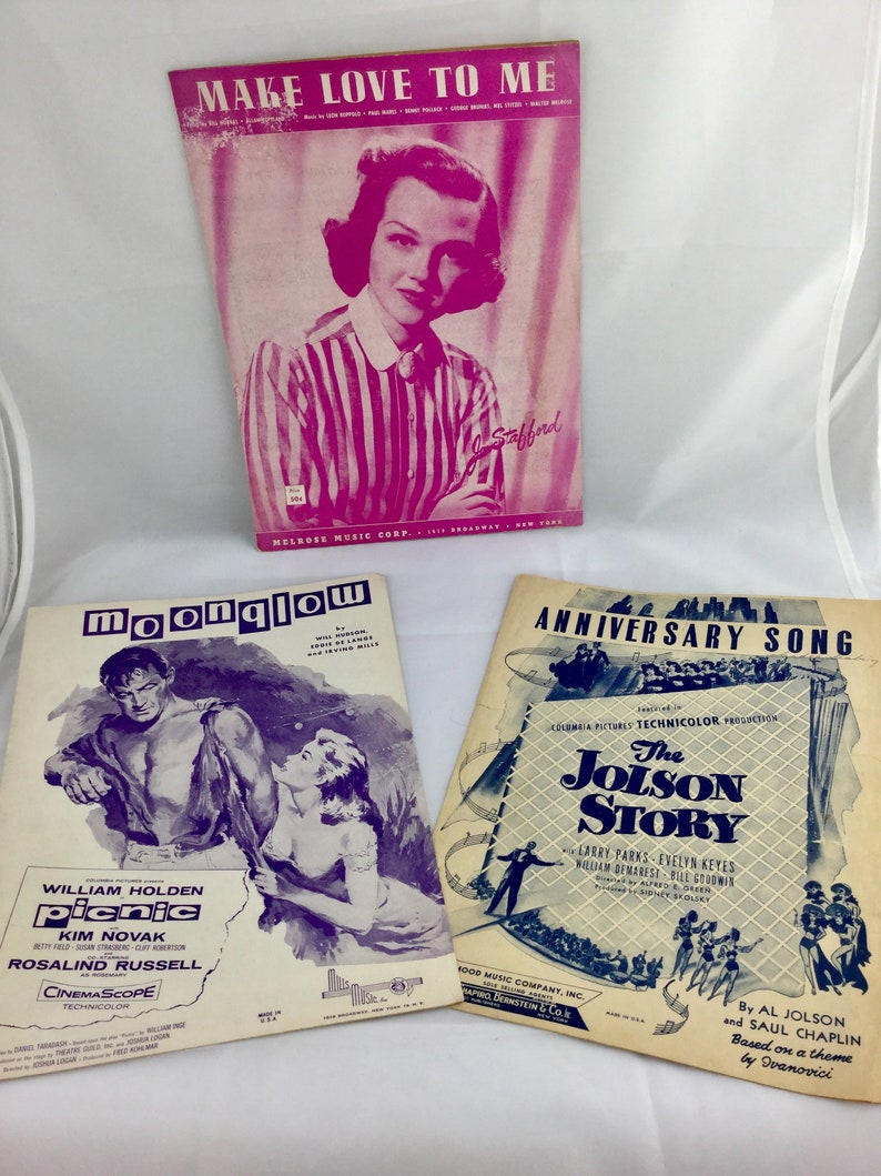 Vintage 40s 50s Sheet Music | Picnic Moonglow Sheet Music | Make Love To Me  Sheet Music | The Jolson Story Anniversary Song Sheet Music