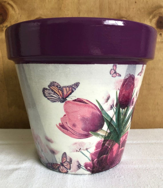Handmade Decoupage Terracotta Plant Pot