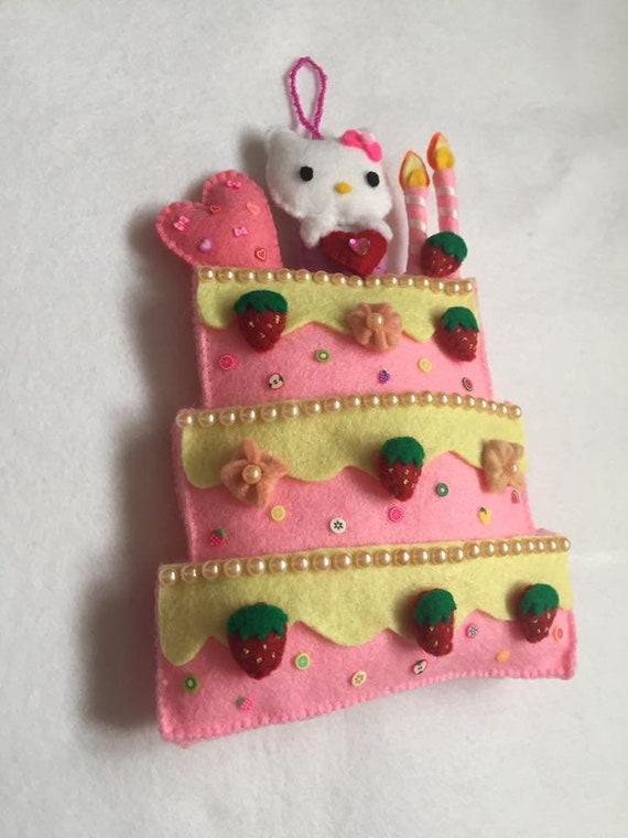 Hello Kitty Cake Handmade Felt Wall Hanging Decor Etsy