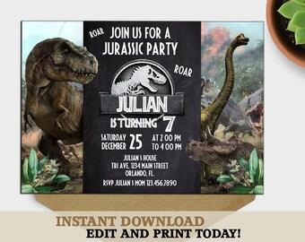 Jurassic World Birthday Invitation Park Party InviteJurassic Instant Download