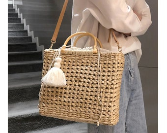 14582060d Straw beach bag straw handbag straw bag leather handle PU straw bag vintage straw  bag strap straw beach tote straw bag for women straw tote