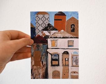 Postcard from Porto, collage mixmedia postard