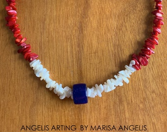 PEACEFULLY Luxury Necklace Blue Navy Rustic Tube Glass Bead Pendant White Mother of Pearl Red Coral Gemstones Beads Nautical Patriotic Love