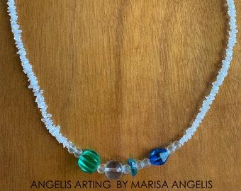 THEANO Luxury Necklace Rainbow Moonstone Gemstone Glass Clear Frosted Blue Sky Aqua Green Abstract Geometric Pythagoras Samos Sea Moon
