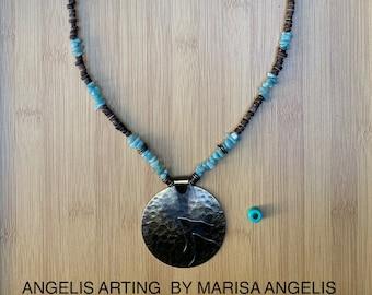 CHANT Luxury Brass Disc Disk Pendant Amazonite Blue Pastel Wood Bead Steampunk Boho Hippie Moon Mountain Drum Necklace AngelisArting