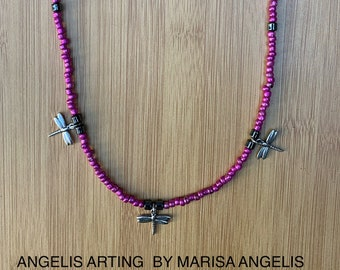 AGILITY Luxury Dragonfly Hot Pink Glass Hematite Grey Gray Gunmetal Three Insect Necklace AngelisArting Handmade