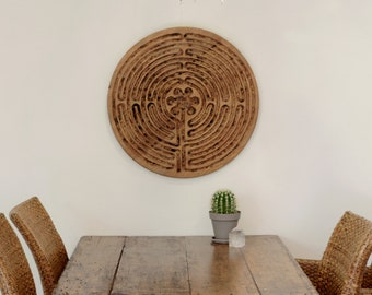 Made to order Labyrinth, Wooden Art Wall Hanging, Wood Finger Labyrint of Chartres, Mindfulness Tool, Healing Therapy, Meditation Tool, Pray