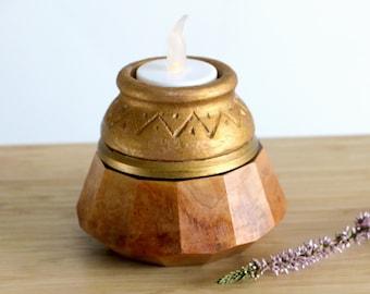 Tealight Keepsake Urn for Human Ashes, Candle Holder Urn for Ashes, Wooden Cremation Urn, Memorial Urn Loved One, Sharing Urn Human Ashes