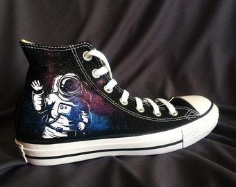 6c67c165eaa9 Space Astronaut Galaxy Converse Painted Chucks