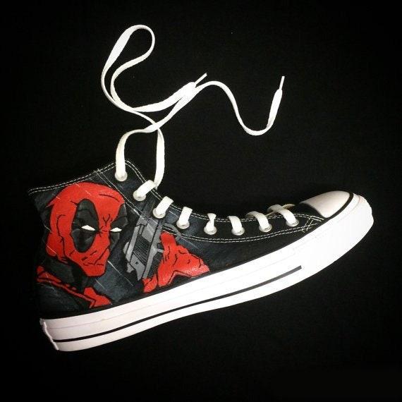 Custom Converse, Deadpool inspired, Comics, Chucks
