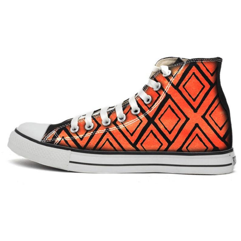 Orange Diamond Themed Converse Painted Chucks