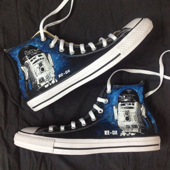 R2D2 Paint Themed Converse Painted Chucks