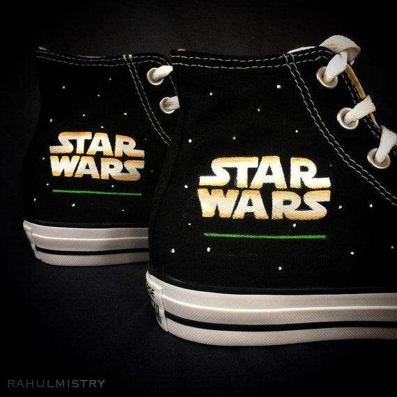 Star Wars Text Paint Themed Converse Painted Chucks