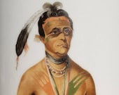 Gold Label 1886, Tobacco Jar, Humidor, Featuring Hoo-Wan-Ne-Ka, Winnebago, Indian Chief, Cigar, Crock, Tobacciana, Cigar Art, Macanudo