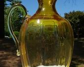 Vintage, 1950 39 s, Blenko, Mid-Century Modern, Blown Glass, Peacock, Pitcher, Vase, Winslow Anderson, Art Glass, Lemon Gold Color, Opalescent