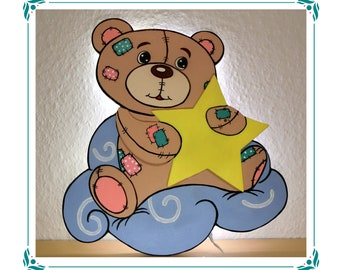 """Schlummerlicht LED Wandlampe Wunschtext Handarbeit Teddybär /""""Vintage/"""""""