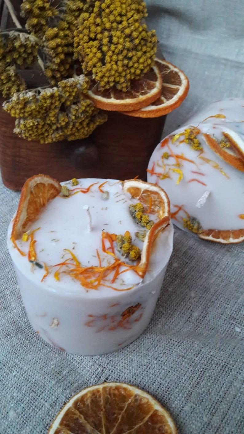 Vegan Pillar Candle Soy wax Candle Orange Scent Festive image 0