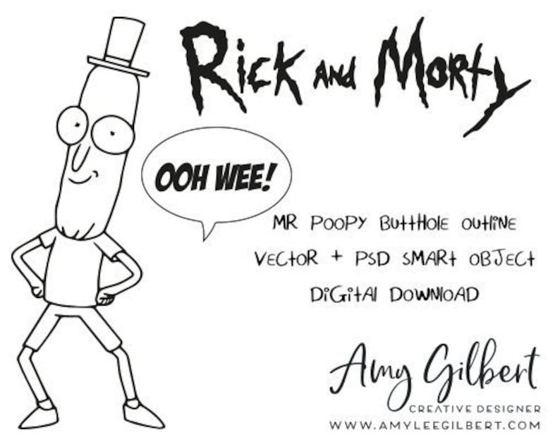 Rick Morty Hand Drawn Illustration Mr Poopy Butthole Etsy