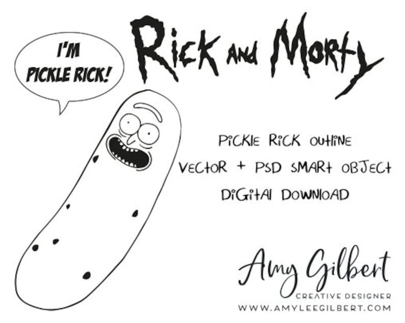 Rick Morty Hand Drawn Illustration Pickle Rick Outline Etsy