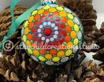 3D Handpainted Mandala Ornament - Southwest Sunshine