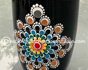 """3D Handpainted Mandala Mug - """"Rainbow Rosy Cross"""""""