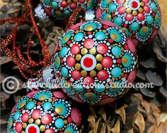 """Handpainted 3D Mandala Ornament - """"Rose Pointsettia"""""""
