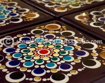 "Mandala Coaster - Handpainted - ""Rainbow Dahlia"""