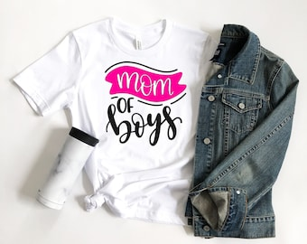 Mom Of Boys T-Shirt, Boy Mom, Mom, Custom Tee, Boyfriend Fit, Semi-Fitted