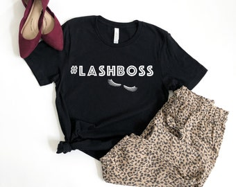 Women's #lashboss T-Shirt, Lashes, Eyelashes, Boss, Custom Tee, Boyfriend Fit, Semi-Fitted