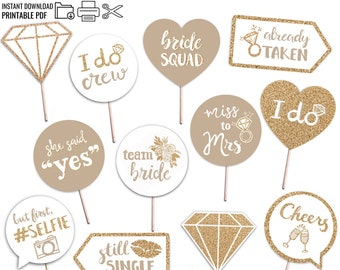 Bridal Shower Printable Photo Booth Props - Champagne Gold and White - 12 Hand Painted Signs - Bachelorette Hen Party