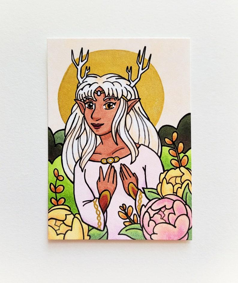 Flower Elf Original Art ACEO Card image 0