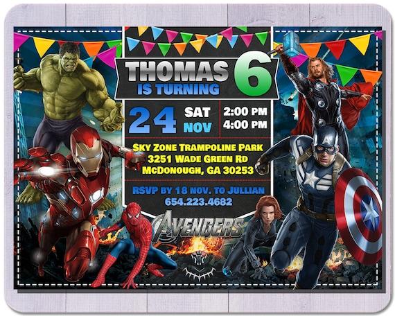 Superhéroe Cumpleaños Vengadores Invitación A 05 Invitación Invitación Del Vengador Fiesta De Superhéroe Invitación De Niño Fiesta Del Vengador