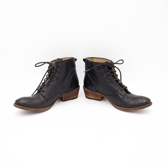 Black Military Leather Booties - Size 6.5B - Lace