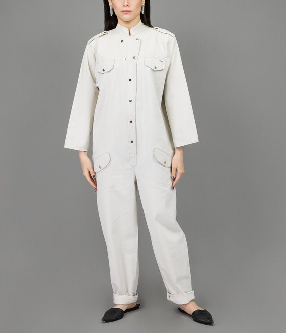 Chalk Jumpsuit - Size Small to Large - Vintage Jum