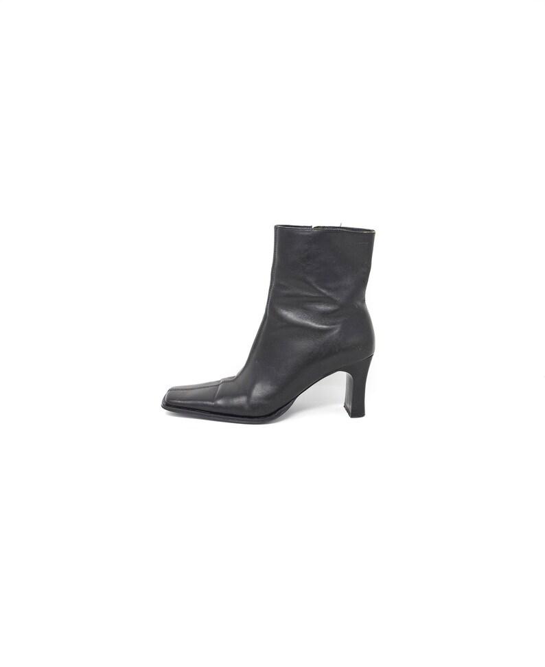 4ad9e42f4783e 90s black leather minimalist structural square toe avant garde ankle boots  US 6.5