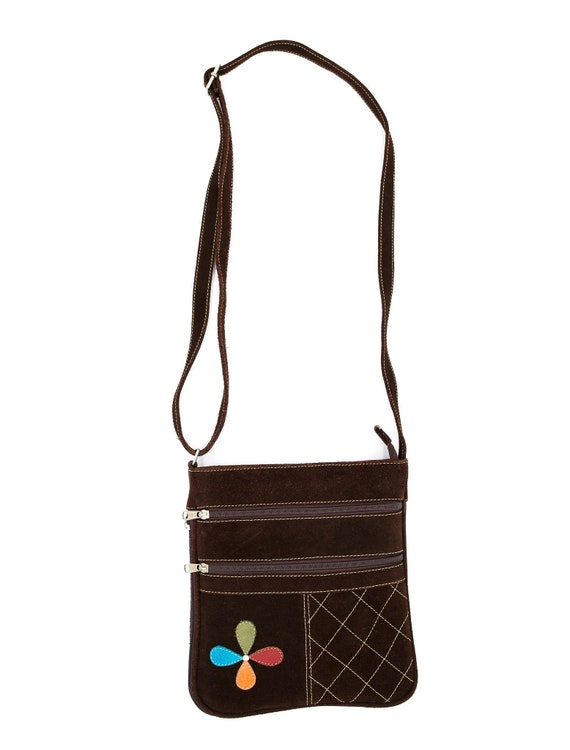 Brown Suede Floral Messenger Bag - Vintage Bags -