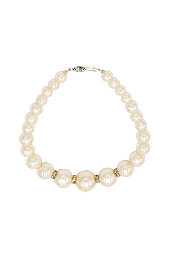 Crystal Pearl Necklace - Vintage Faux Pearl Neckla
